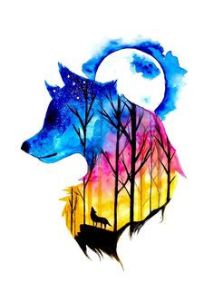 Colorful Wolf Watercolour