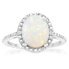 Sterling Silver 1 1/2ct Opal and Diamond Accent Halo Ring