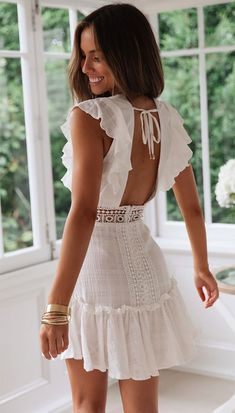 Women Summer Bohemian Beach Boho Dress Embroidery Lace White Dress Deep V Neck Backless Sexy Mini Dress Ruffle Holiday Sundress - Source by lucalaiza - White Dress Outfit, White Boho Dress, White Dress Summer, White Mini Dress, Little White Dresses, White Dress Casual, Sexy Summer Dresses, White Sundress, White Spring Dresses