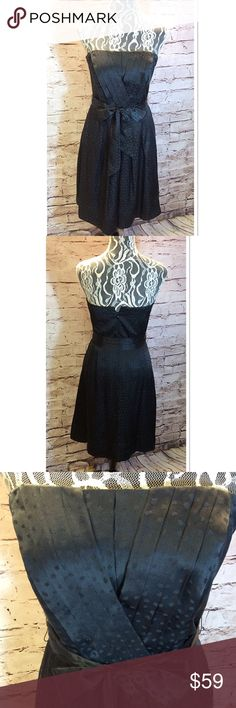 % SILK WHITE HOUSE BLACK MARKET LBD Beautiful black strapless dress with a faint print as shown in closeup pic. Zips in back. Like new condition White House Black Market Dresses Mini