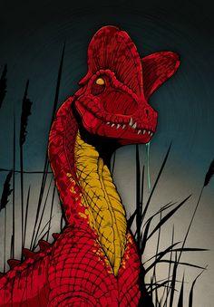 dinosaur art Jurassic World: Dilophosaurus - Dinosaur Poster Print Tiger Illustration, Illustration Agency, Vintage Illustration, Jurassic World Poster, Jurassic Park World, Dinosaur Art Projects, Dinosaur Crafts, Cute Dinosaur, Dinosaur Posters