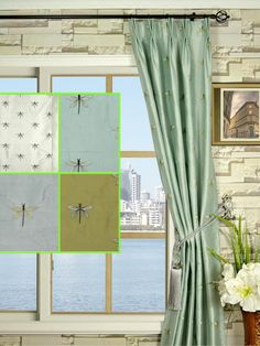 Halo Embroidered Dragonflies Double Pinch Pleat Dupioni Silk Curtains - Custom Curtains Drapes Draperies Sheers Rods and Tracks