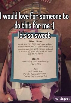 """Someone from North Mankato posted a whisper, which reads """"I would love for someone to do this for me :) It's so sweet"""" Cute Notes For Boyfriend, Things To Do With Your Boyfriend, Love Notes For Him, Sweet Love Notes, Birthday Gifts For Boyfriend Diy, Creative Gifts For Boyfriend, Cute Boyfriend Gifts, Birthday Gifts For Best Friend, Love Is Sweet"""