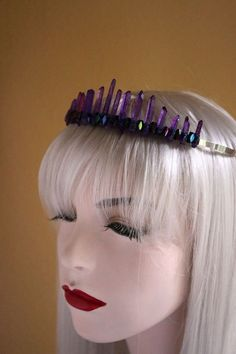 Violet-toned Raw Crystal Point Star Fairy Tiara