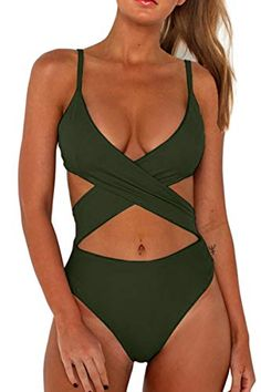 24aca96207b12 CHYRII Swimsutis for #Women #Sexy Hollowed Out Criss Cross High Leg One  Piece #Bikini #Swimsuit Army Green S