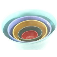 Ceramic Nesting Bowls, Kitchen Serving Bowls, Ceramic Dinnerware, Set... ($175) ❤ liked on Polyvore featuring home and kitchen & dining