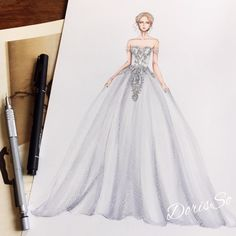 "788 Likes, 11 Comments - Eris Tran (@eris_tran) on Instagram: ""@heidiklum like an angel at oscars 2016 with @marchesafashion dress. So beautiful. #sketching…"""