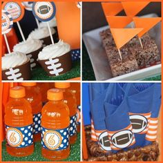 football birthday party use blue and green instead of blue and orange