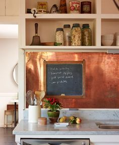 Has subway tile become basic? Here are the kitchen backsplash designs to try when you're tired of the same old subway tile. For more kitchen and bathroom tile trends, head to Domino. Copper Backsplash, Copper Kitchen Backsplash, Tin Backsplash, Metallic Backsplash, Backsplash Trends, Diy Kitchen Backsplash, Modern Kitchen, Kitchen Remodel, Backsplash Designs