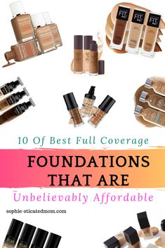 Affordable and budget friendly drug store full coverage foundations products. Ones for acne, match your skin tone and will give you a flawless finish. Best Cheap Foundation, Full Coverage Drugstore Foundation, Revlon Foundation, True Match Foundation, Flawless Foundation, Makeup Brands, Best Makeup Products, Revlon Color, Best Bronzer