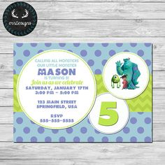 Monsters Inc Party Invitation by ERRdesigns on Etsy