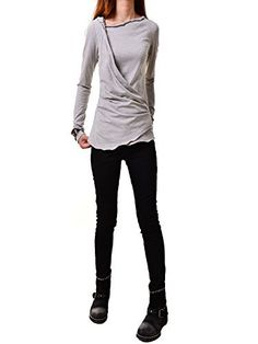 Idea2lifestyle Women's Firefly - Stretchy Cotton Shirt Gray, http://www.amazon.com/dp/B00YGWQTPI/ref=cm_sw_r_pi_awdm_Hlv-wb0J89EDN