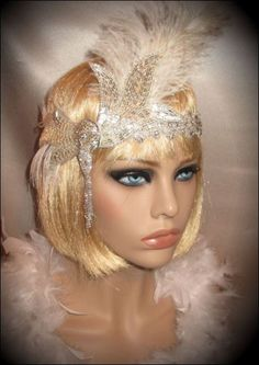 GATSBY GLITZ - Stunning Flapper Headband In Crystals, Rhinestones, Vintage Brooch & Feathers For Gatsby Party Or Wedding