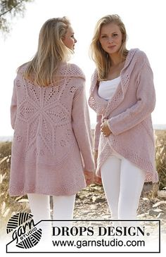 "Knitted DROPS jacket worked in a circle with lace pattern in ""Alpaca"" and ""Kid-Silk"". Size: S - XXXL-free knitting pattern @ DROPS Design Knitting Patterns Free, Knit Patterns, Free Knitting, Free Pattern, Drops Design, Crochet Cardigan, Knit Crochet, Crochet Capas, Alpacas"