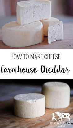 """Make your own farmhouse cheddar recipe! """"Farmhouse Cheddar Cheese ages more quickly than other cheeses which means you'll be making grilled cheese sandwiches with your own homemade cheese sooner! Goat Milk Recipes, Real Food Recipes, Cooking Recipes, Yummy Food, Oats Recipes, Rice Recipes, Beef Recipes, Chicken Recipes, Fromage Vegan"""