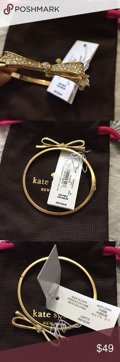 Kate Spade stone studded golden bracelet with tag. 🌟Flash Sale🌟Super cute brand new Bow shaped bracelet. Golden colored with stones on it. It is available with the tag and Kate Spade accessory pouch.🎀🎉 I ACCEPT ALL OFFERS 🎉🎀 🌟 15% OFF on bundles 🌟 kate spade Jewelry Bracelets
