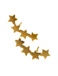 our stars ear studs from the danish designer Stine A. Jewelry 18 carat gold plated matte finish on 925 sterling silver.  Lenght: 1,8 cm  You can use them in two ways both up or down the earlobe.  The geometric design gives it contemporary appeal. Too good to save for evening, we'll be wearing ours for day with shorts and sandals. For pierced ears - with push back closure.    Every piece of Stine A. jewelry