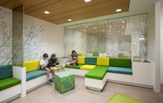 "The three populations served within MedStar Georgetown University Hospital's pediatrics and OB/GYN suite—children, adolescents, and women—have separately themed waiting areas arranged around a ""central square"" concept. The pediatrics space features family-friendly banquettes. Photo: courtesy of IIDA"