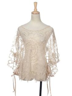 Anna-Kaci Free Size Vanilla White Intricate Indian-Inspired Lace Drape Blouse - Sweet Lace Tops For Ladies:   http://elegant-sweet-fashion.net