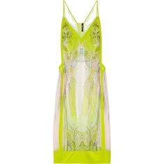 Roberto Cavalli Printed silk-chiffon dress ($955) ❤ liked on Polyvore featuring dresses, vestidos, chartreuse, roberto cavalli, roberto cavalli dresses, overlay dress, multi-color dress and lace trim dress