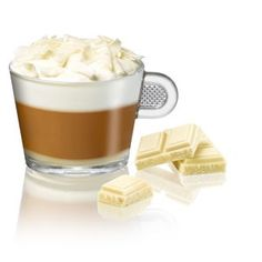 Cappuccino with white chocolate. White Chocolate Syrup, Chocolate Squares, Cappuccino Cups, Coffee, Coffee Art, Cup Of Coffee