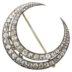 Large French Antique Diamond Crescent Brooch | From a unique collection of vintage brooches at https://www.1stdibs.com/jewelry/brooches/brooches/