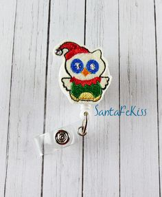 Christmas Owl Holiday Badge Holder with Retractable by SantaFeKiss