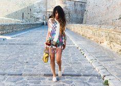 @ Madame de Rosa #Las Dalias Hippy market Dress, #Tete by Odette Belt, #Balenciaga Bag, #Forever 21 Shoes.