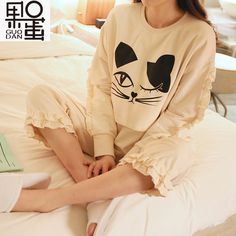(33.14$)  Watch here - http://aige6.worlditems.win/all/product.php?id=32792336572 - Maternity Spring and Autumn Long-sleeved Pajamas Ms. Cartoon Month of Service Cotton Breastfeeding Nursing Home Pyjamas