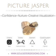 Metaphysical Healing Properties of Picture Jasper, including associated Chakra, Zodiac and Element, along with Crystal System/Lattice to assist you in setting up a Crystal Grid. Go to https:/wwwsoulsistersdesigns.com to learn more!