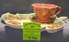 Vintage art pottery leaf shaped cup and saucer set : Lot 4722
