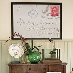 Try enlarging and framing a old, hand-written family recipe.