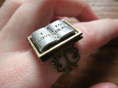 Book Lover's Locket Ring. $18.00, via Etsy.