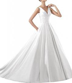 Gorgeous Bride Traumhaft V-Ausschnitt Traeger A-Linie Satin Hof-Schleppe Lang Brautkleider Hochzeitskleider: Amazon.de: Bekleidung