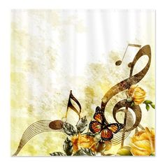 butterfly notes | ... Gifts > Artistic Bathroom > Butterfly Music Notes Shower Curtain
