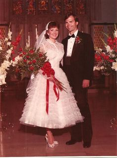 Mother's 1957 wedding  gown worn by daughter in 1984.