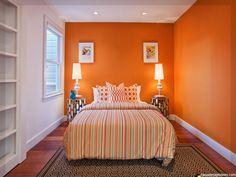 orange Farbe Schlafzimmer Wandgestaltung Deko Ideen Designs ...