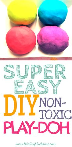 Super easy DIY Non-Toxic Play-Doh recipe with step by step photo instructions. Made with household ingredients and safe for kiddos. Easy Crafts For Kids, Craft Activities For Kids, Toddler Activities, Diy For Kids, Playdough Activities, Kid Crafts, Preschool Activities, Diy Play Doh, Play Dough