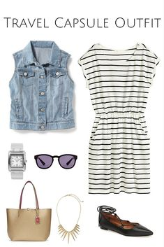 Travel packing outfits, travel capsule, packing tips, gamine outfits, cas. Travel Packing Outfits, Packing Clothes, Travel Capsule, Travel Outfit Summer, Summer Travel, Summer Outfits, Work Outfits, Packing Tips, Capsule Outfits