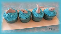 Ocean themed cupcakes using cupcake wrappers.