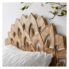 PB Teen No Nails Wood Carved Faux Headboard at Pottery Barn Teen -... (495 BRL) ❤ liked on Polyvore featuring home, furniture, beds, faux wood furniture, wood bedroom sets, wooden bed heads, wooden bed and wood bed