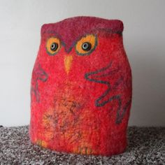 Felted Owl Teacosy - red orange and green - teapot cosy
