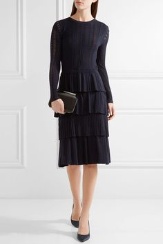 Oscar de la Renta - Tiered Pointelle-knit Wool Dress - Midnight blue - x small