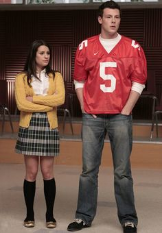 Rachel Berry wears #kneehigh socks in school girl outfit #glee
