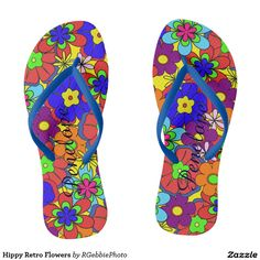 Hippy Retro Flowers Flip Flops $37.95 Colorful retro style flowers, hippy style in bright colors! Large petal flowers in a jumbled assortment. 70s Hippy look, great throwback item!