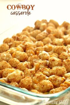 Cowboy Casserole (Tater Tot Casserole) - - Creamy corn and beef casserole mixed with the crispy tator tots makes for a wonderful family dinner. All of the kids will be going crazy over this Cowboy Casserole. Tater Tots, Potato Tots, Ground Beef Recipes, Casseroles With Ground Beef, Quick Casseroles, Food Dishes, Main Dishes, Breakfast Casserole, Tator Tot Casserole Recipe
