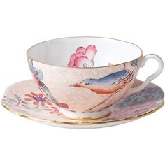Wedgwood Cuckoo Teacup and Saucer Peach ($62) ❤ liked on Polyvore featuring home, kitchen & dining, drinkware, bone china, wedgwood tea cups, wedgwood, wedgwood teacup and wedgwood saucer