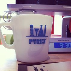 Pyrex mug. At home, in the lab.