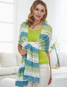 Triad Shawl - Patterns | Yarnspirations, free crochet pattern, wrap, #haken, gratis patroon (Engels), omslagdoek