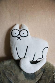 Купить Кот Саймона - белый, кот, подушка, подарок, прикольный подарок, персонажи мультфильмов, котик
